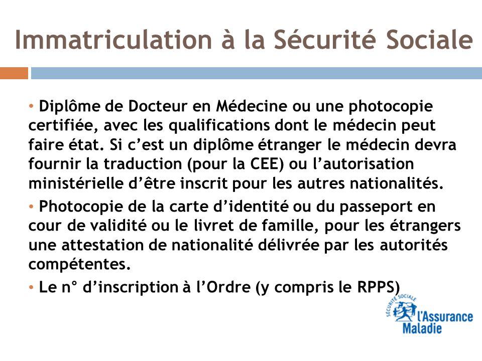 Immatriculation à la Sécurité Sociale Diplôme de Docteur en Médecine ou une photocopie certifiée, avec les qualifications dont le médecin peut faire é
