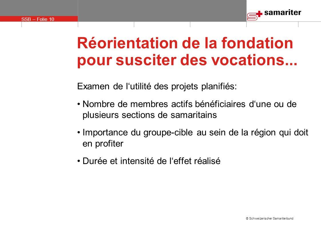 SSB – Folie 10 © Schweizerischer Samariterbund Réorientation de la fondation pour susciter des vocations...
