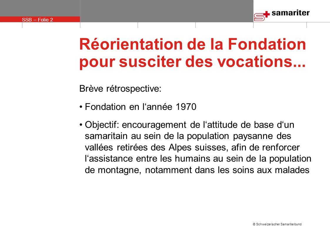 SSB – Folie 13 © Schweizerischer Samariterbund Réorientation de la Fondation pour susciter des vocations...