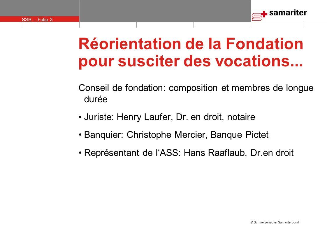 SSB – Folie 14 © Schweizerischer Samariterbund Réorientation de la Fondation pour susciter des vocations...