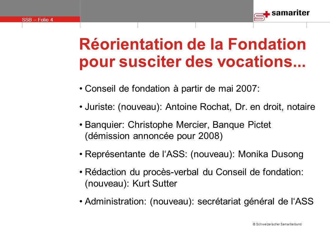 SSB – Folie 15 © Schweizerischer Samariterbund Réorientation de la Fondation pour susciter des vocations...