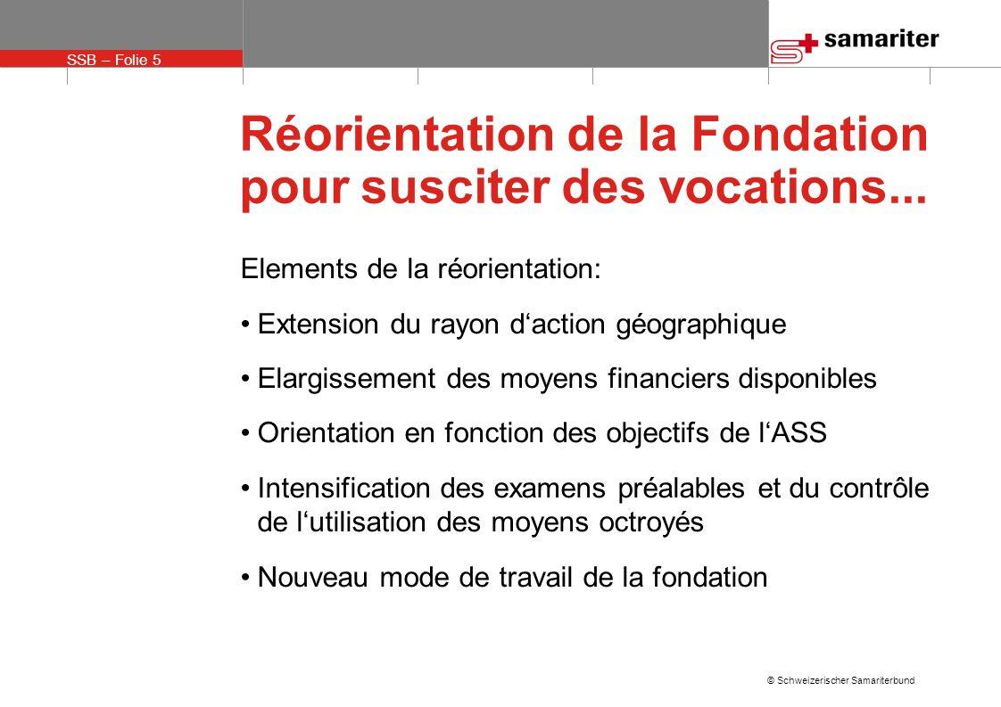 SSB – Folie 16 © Schweizerischer Samariterbund Réorientation de la Fondation pour susciter des vocations...