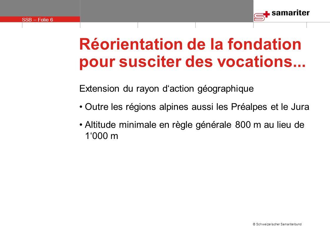 SSB – Folie 6 © Schweizerischer Samariterbund Réorientation de la fondation pour susciter des vocations...