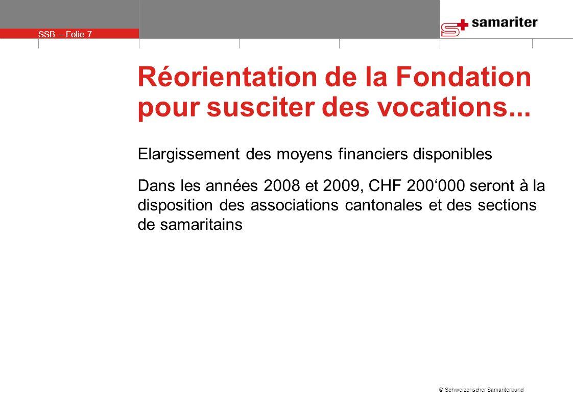SSB – Folie 7 © Schweizerischer Samariterbund Réorientation de la Fondation pour susciter des vocations...