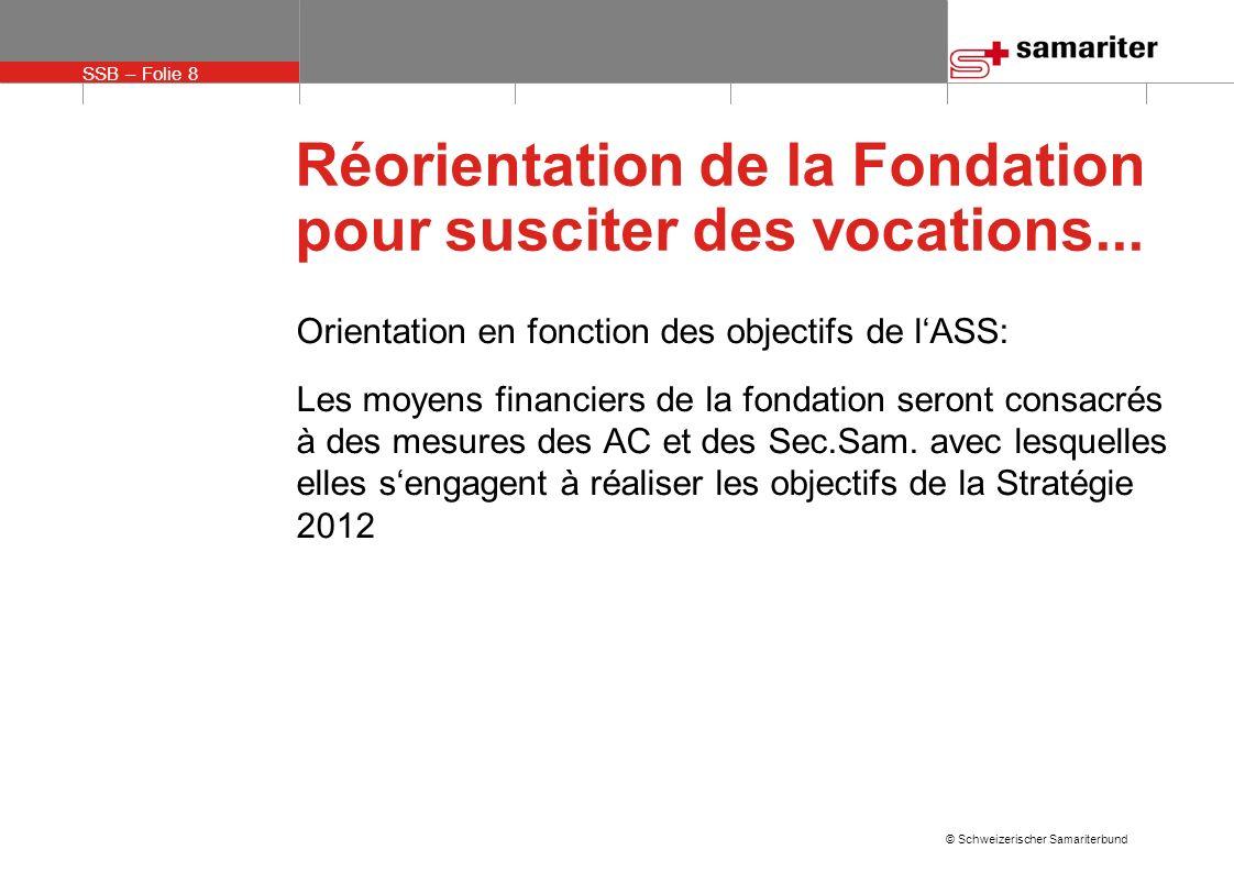 SSB – Folie 9 © Schweizerischer Samariterbund Réorientation de la Fondation pour susciter des vocations...