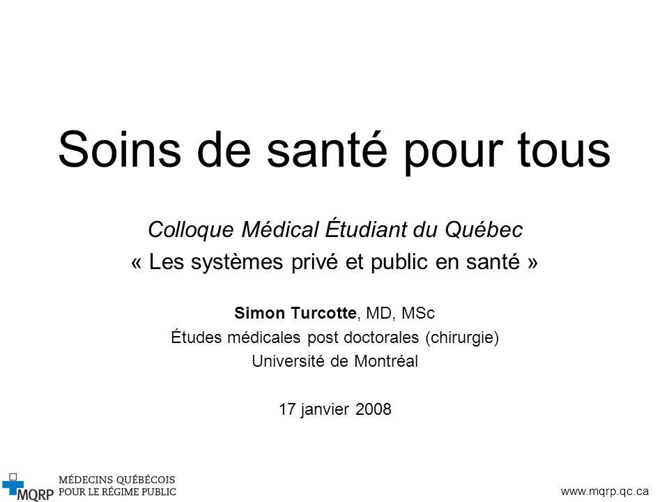 www.mqrp.qc.ca Soins de santé pour tous Colloque Médical Étudiant du Québec « Les systèmes privé et public en santé » Simon Turcotte, MD, MSc Études m