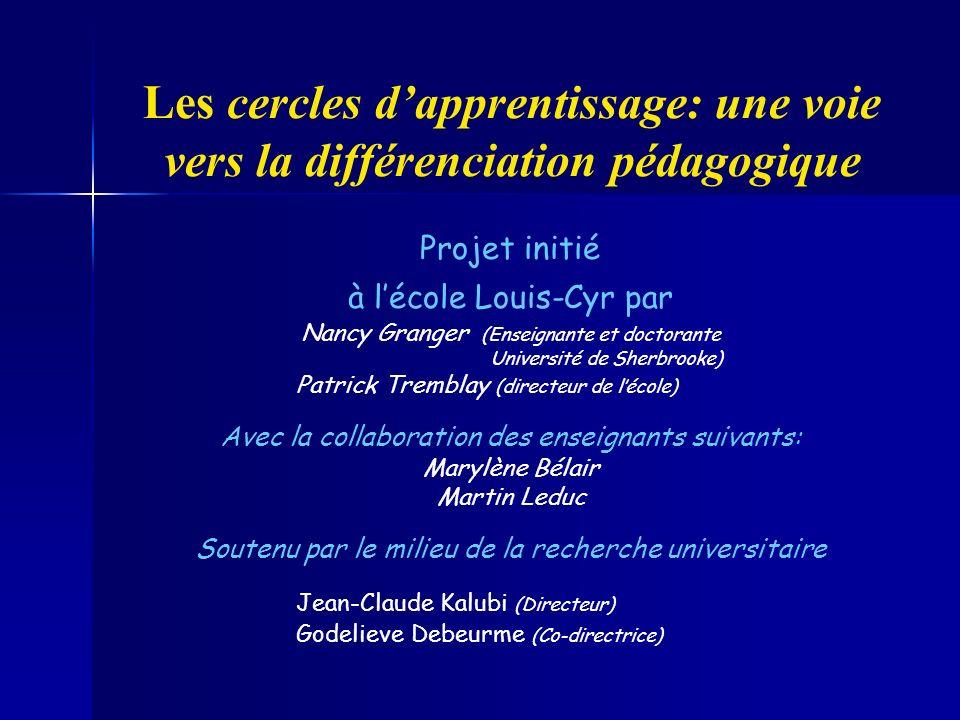 Les cercles dapprentissage: une voie vers la différenciation pédagogique Projet initié à lécole Louis-Cyr par Nancy Granger (Enseignante et doctorante