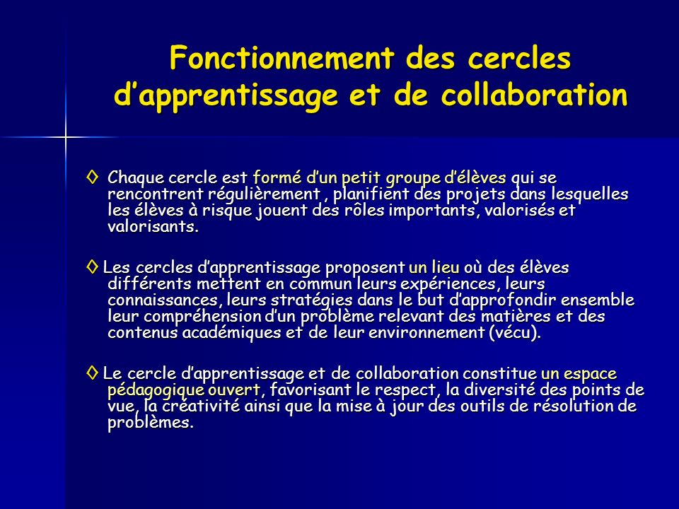 Fonctionnement des cercles dapprentissage et de collaboration Chaque cercle est formé dun petit groupe délèves qui se rencontrent régulièrement, plani