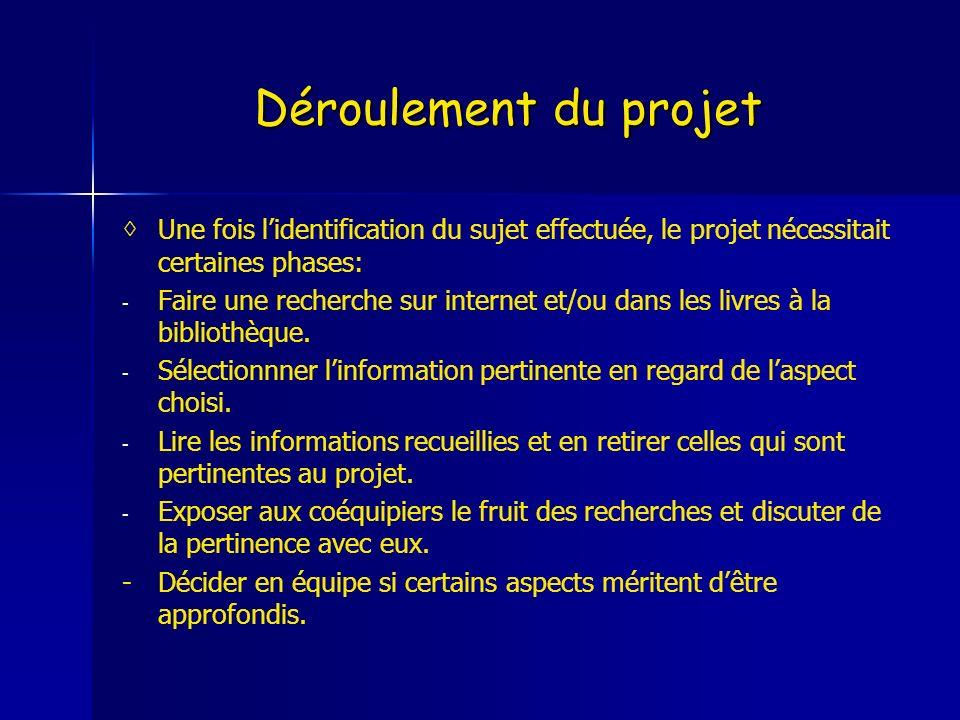Déroulement du projet Une fois lidentification du sujet effectuée, le projet nécessitait certaines phases: - - Faire une recherche sur internet et/ou