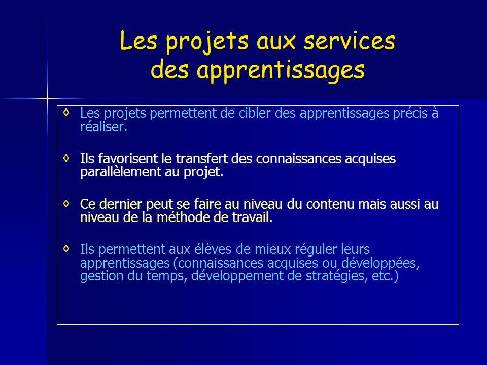 Les projets aux services des apprentissages Les projets permettent de cibler des apprentissages précis à réaliser. Ils favorisent le transfert des con