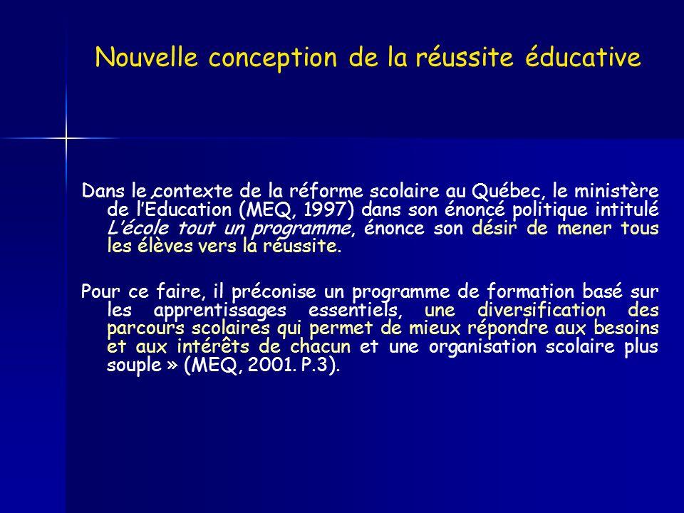 Dans le contexte de la réforme scolaire au Québec, le ministère de lÉducation (MEQ, 1997) dans son énoncé politique intitulé Lécole tout un programme,