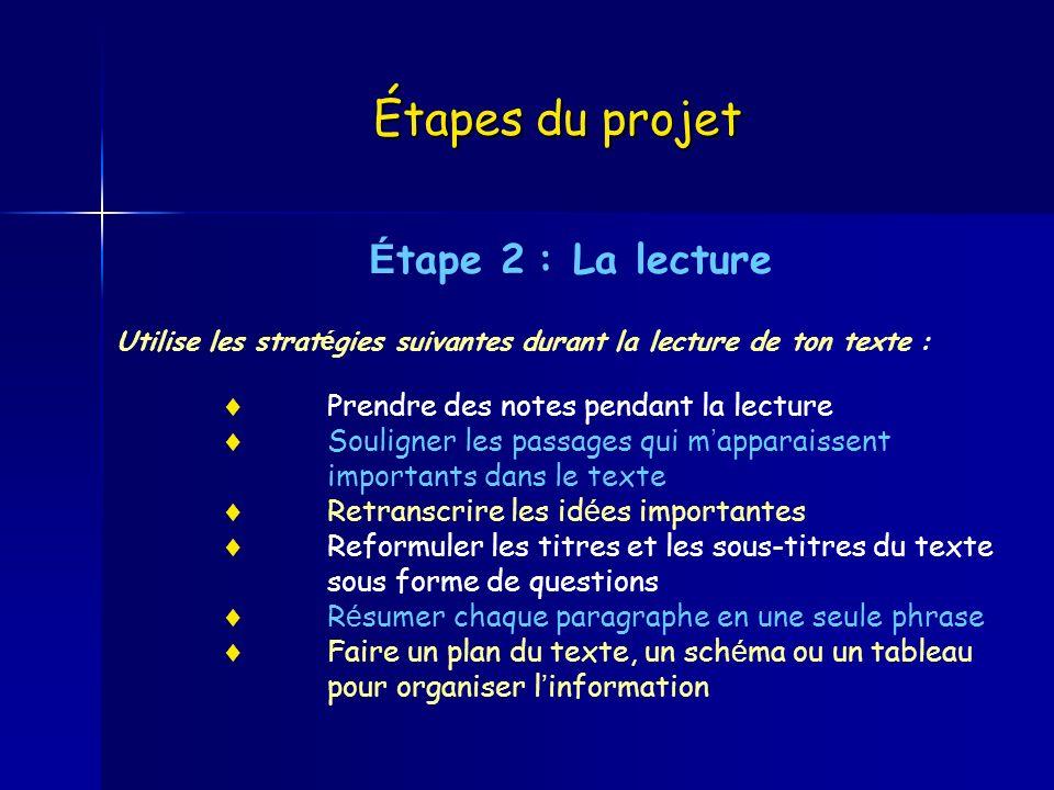 Étapes du projet É tape 2 : La lecture Utilise les strat é gies suivantes durant la lecture de ton texte : Prendre des notes pendant la lecture Soulig
