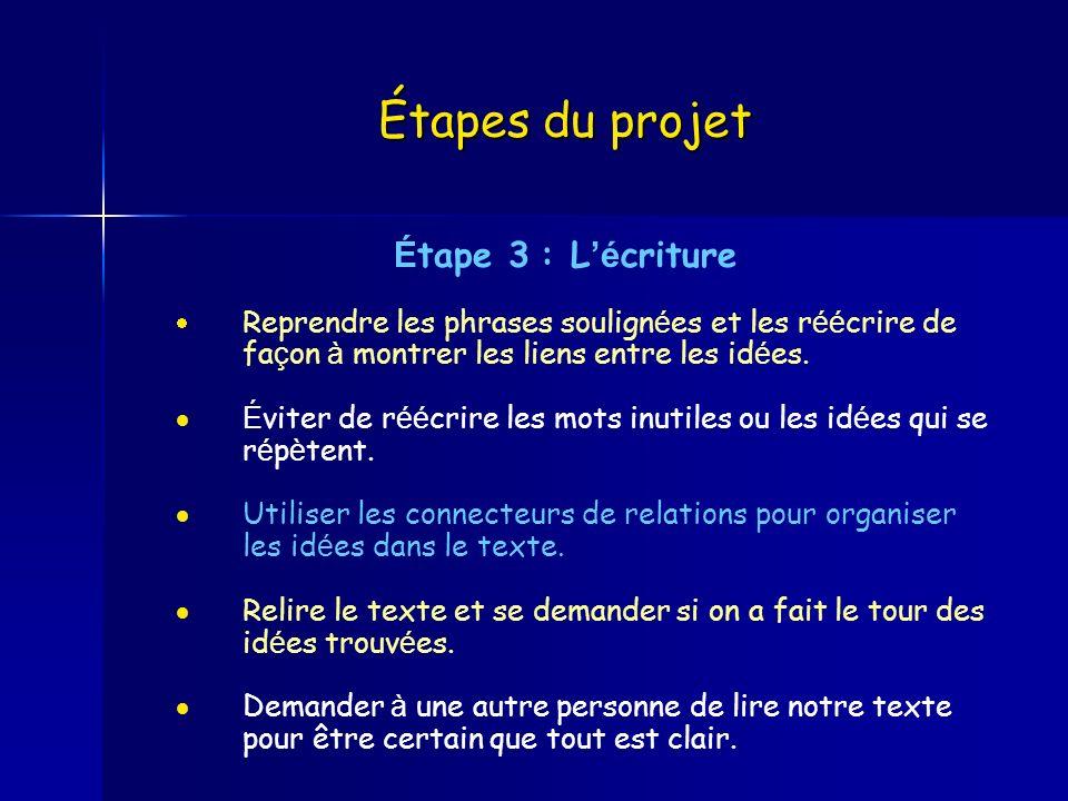 Étapes du projet É tape 3 : L é criture Reprendre les phrases soulign é es et les r éé crire de fa ç on à montrer les liens entre les id é es. É viter
