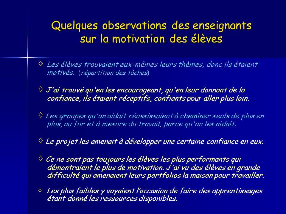 Quelques observations des enseignants sur la motivation des élèves Les élèves trouvaient eux-mêmes leurs thèmes, donc ils étaient motivés. (répartitio