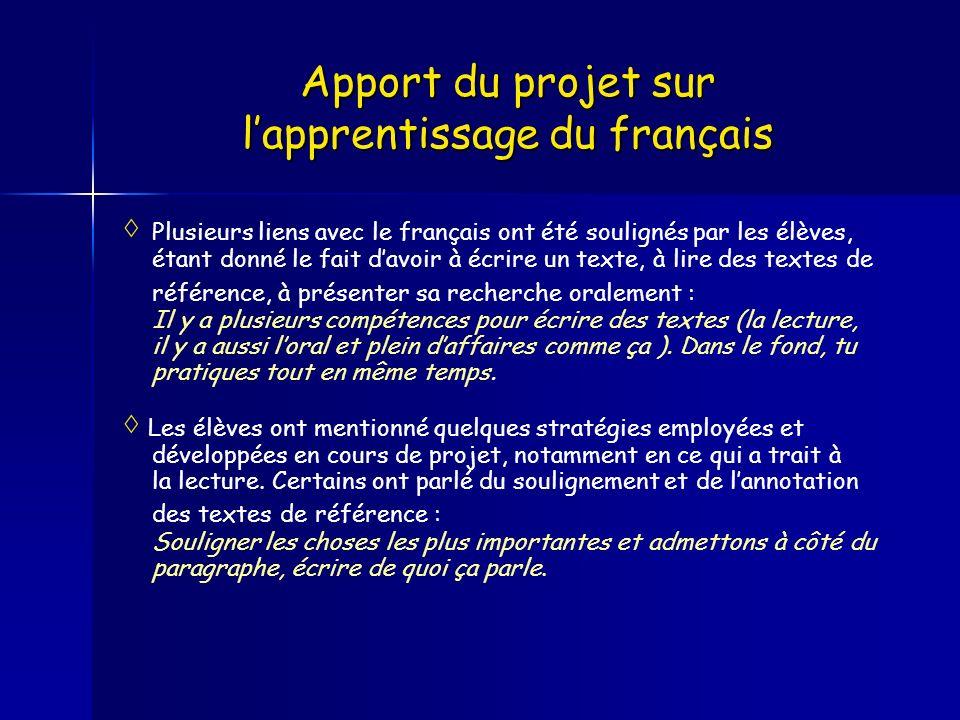 Apport du projet sur lapprentissage du français Plusieurs liens avec le français ont été soulignés par les élèves, étant donné le fait davoir à écrire