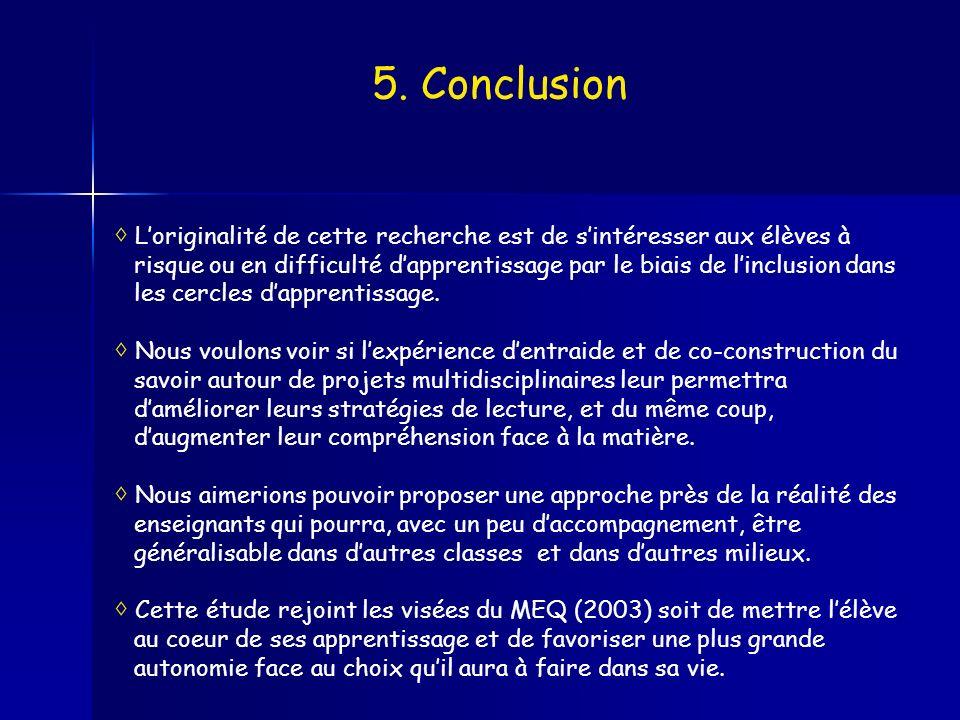 5. Conclusion Loriginalité de cette recherche est de sintéresser aux élèves à risque ou en difficulté dapprentissage par le biais de linclusion dans l