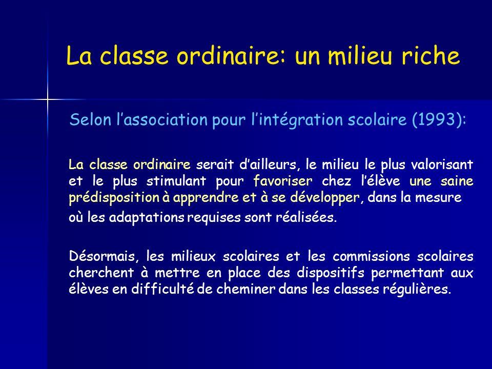 La classe ordinaire: un milieu riche Selon lassociation pour lintégration scolaire (1993): La classe ordinaire serait dailleurs, le milieu le plus val