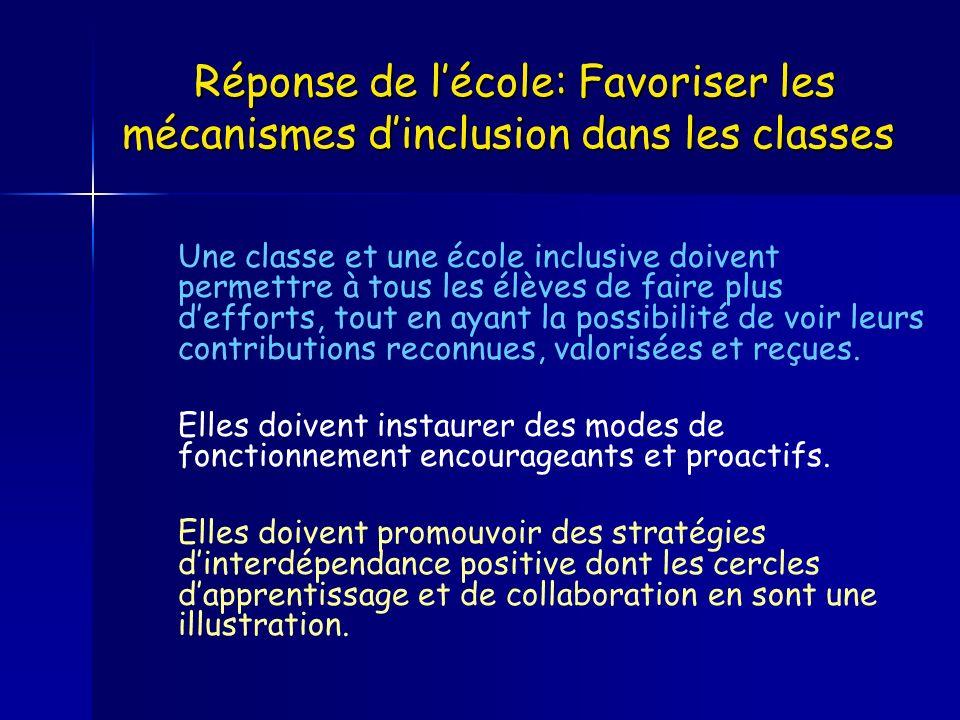 Réponse de lécole: Favoriser les mécanismes dinclusion dans les classes Réponse de lécole: Favoriser les mécanismes dinclusion dans les classes Une cl