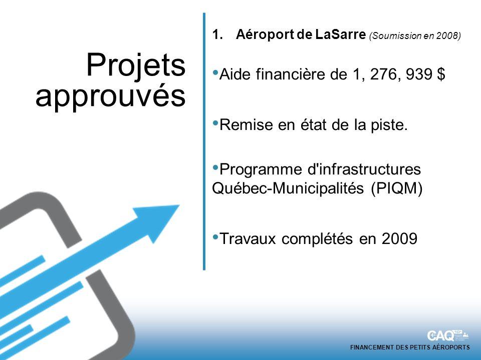 FINANCEMENT DES PETITS AÉROPORTS 1.Aéroport de LaSarre (Soumission en 2008) Aide financière de 1, 276, 939 $ Remise en état de la piste.