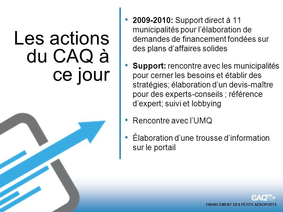 FINANCEMENT DES PETITS AÉROPORTS 2009-2010: Support direct à 11 municipalités pour lélaboration de demandes de financement fondées sur des plans daffa