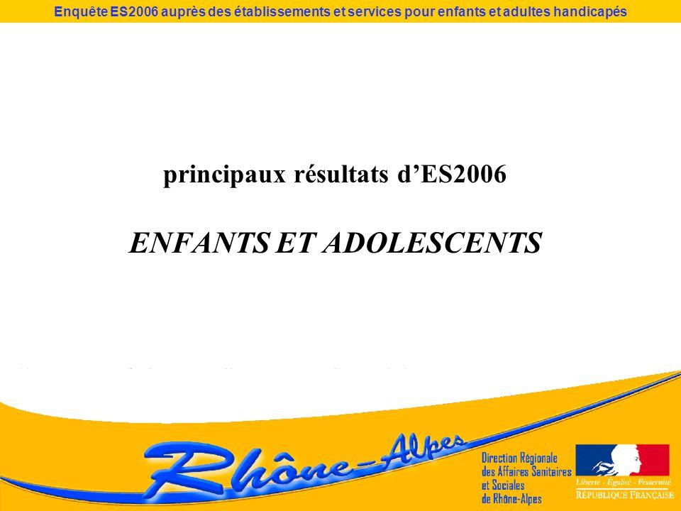 principaux résultats dES2006 ENFANTS ET ADOLESCENTS