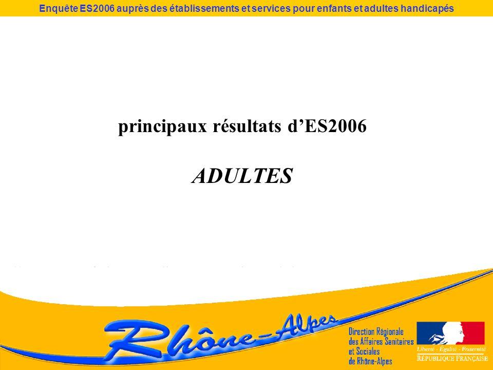 Enquête ES2006 auprès des établissements et services pour enfants et adultes handicapés principaux résultats dES2006 ADULTES