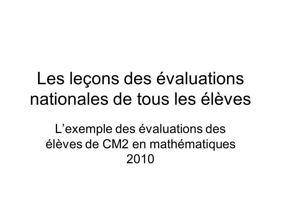 Les leçons des évaluations nationales de tous les élèves Lexemple des évaluations des élèves de CM2 en mathématiques 2010