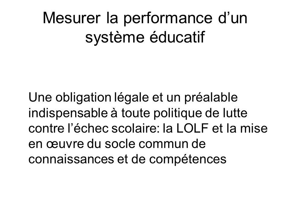 Mesurer la performance dun système éducatif Une obligation légale et un préalable indispensable à toute politique de lutte contre léchec scolaire: la LOLF et la mise en œuvre du socle commun de connaissances et de compétences