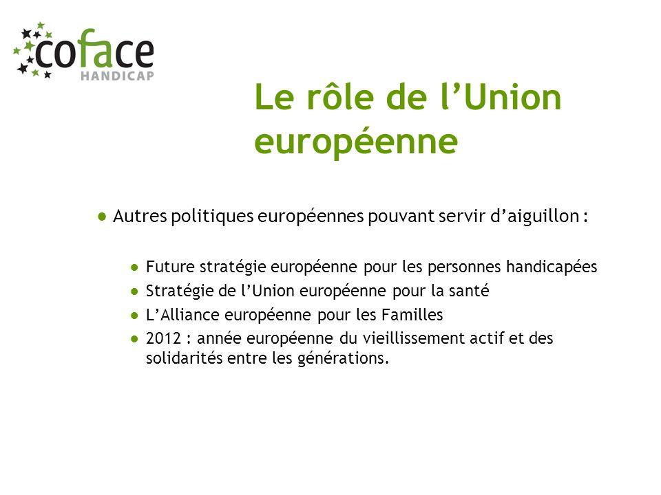 Autres politiques européennes pouvant servir daiguillon : Future stratégie européenne pour les personnes handicapées Stratégie de lUnion européenne po