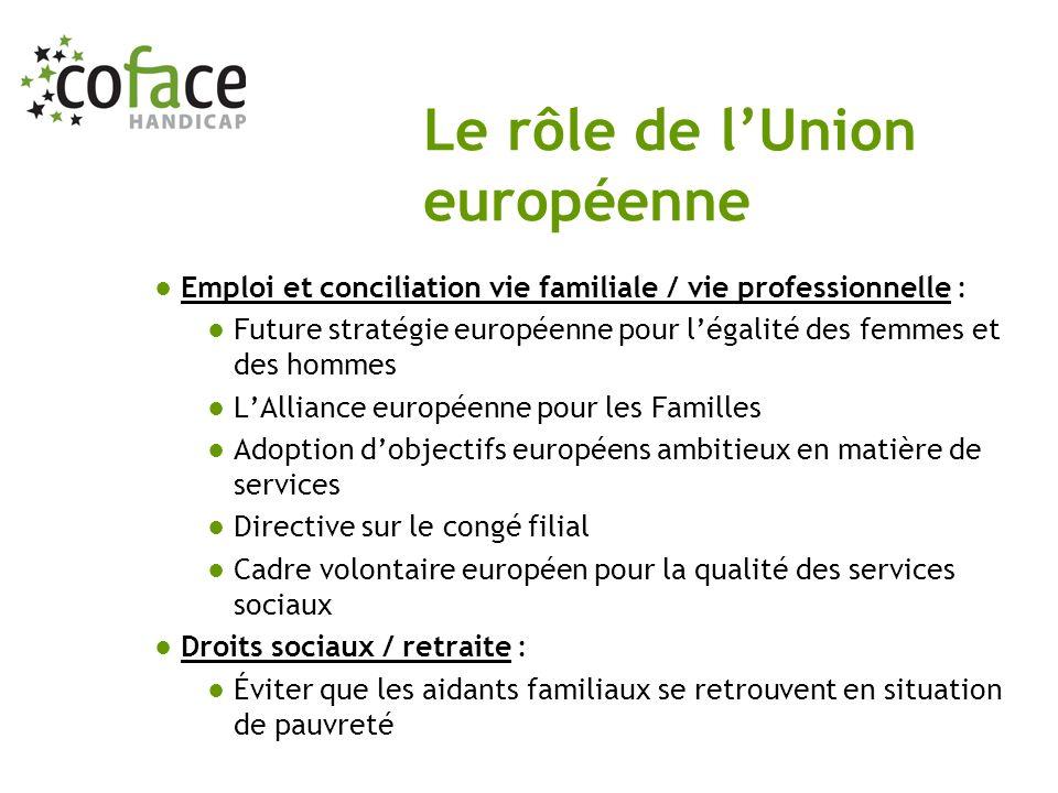 Emploi et conciliation vie familiale / vie professionnelle : Future stratégie européenne pour légalité des femmes et des hommes LAlliance européenne p