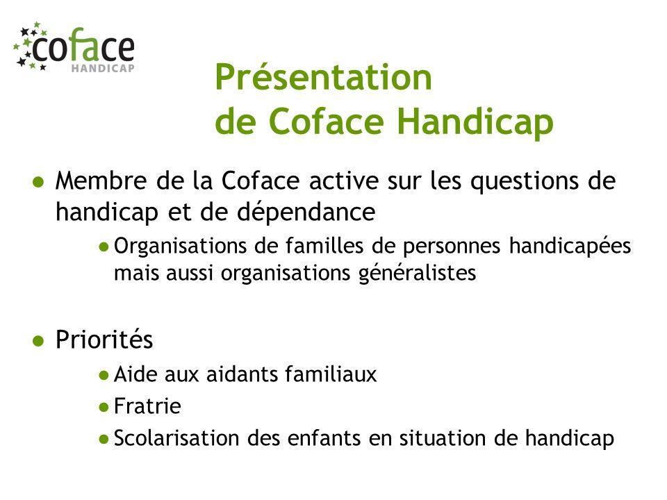 Membre de la Coface active sur les questions de handicap et de dépendance Organisations de familles de personnes handicapées mais aussi organisations