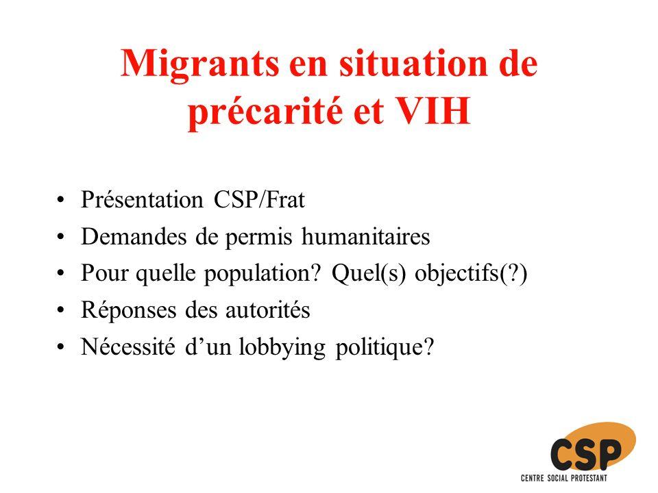 Migrants en situation de précarité et VIH Présentation CSP/Frat Demandes de permis humanitaires Pour quelle population.
