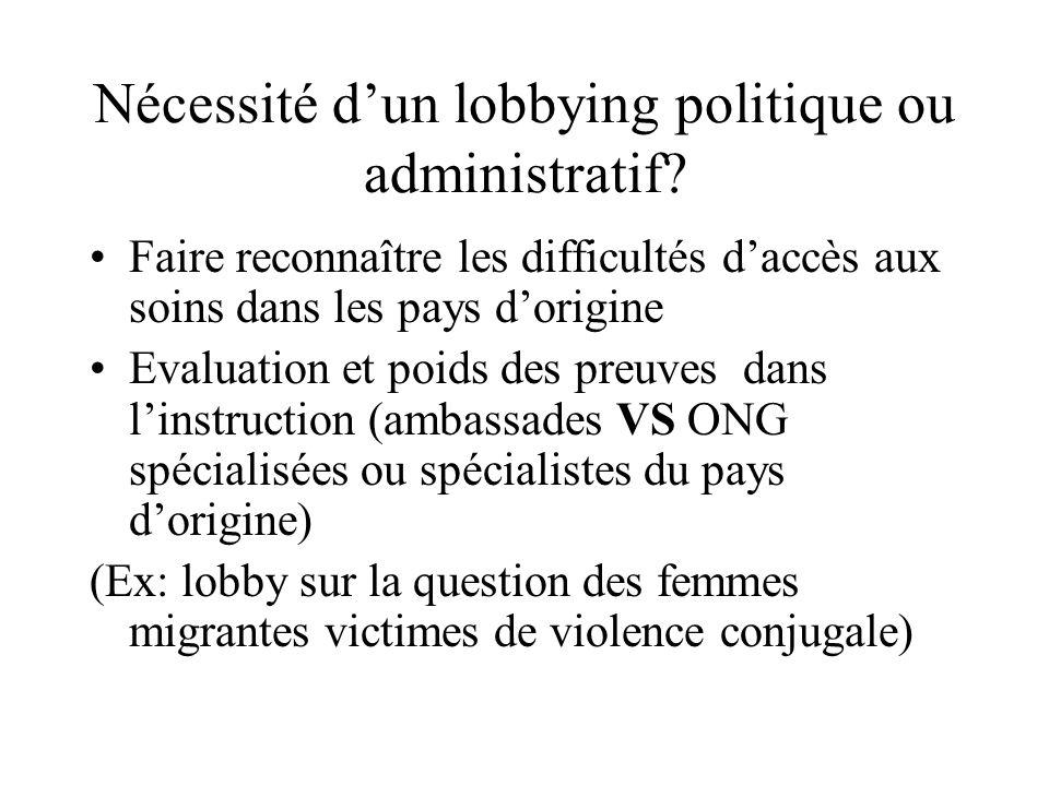 Nécessité dun lobbying politique ou administratif? Faire reconnaître les difficultés daccès aux soins dans les pays dorigine Evaluation et poids des p