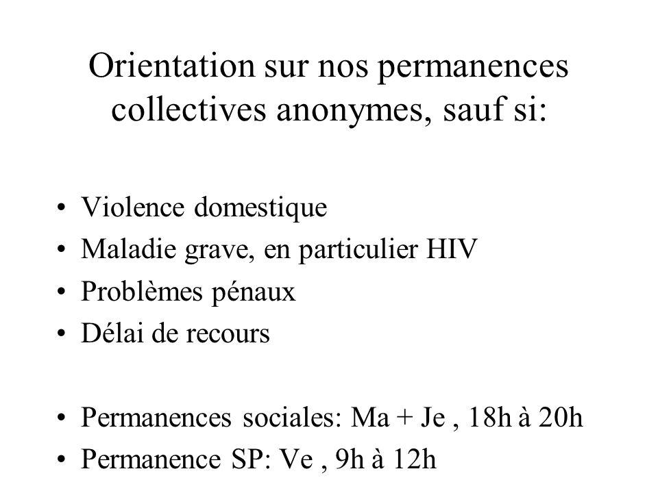 Orientation sur nos permanences collectives anonymes, sauf si: Violence domestique Maladie grave, en particulier HIV Problèmes pénaux Délai de recours Permanences sociales: Ma + Je, 18h à 20h Permanence SP: Ve, 9h à 12h