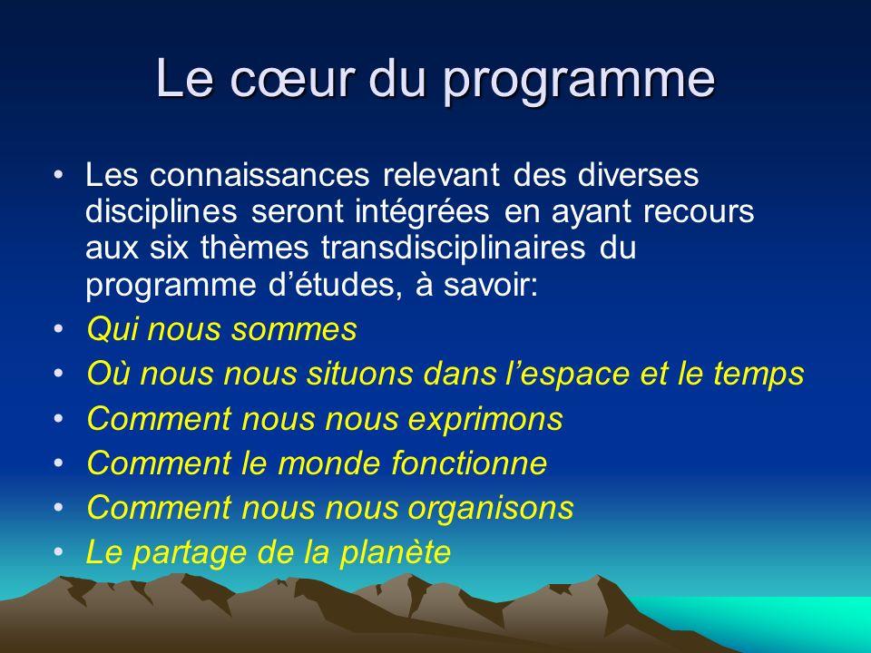 Le cœur du programme Les connaissances relevant des diverses disciplines seront intégrées en ayant recours aux six thèmes transdisciplinaires du progr
