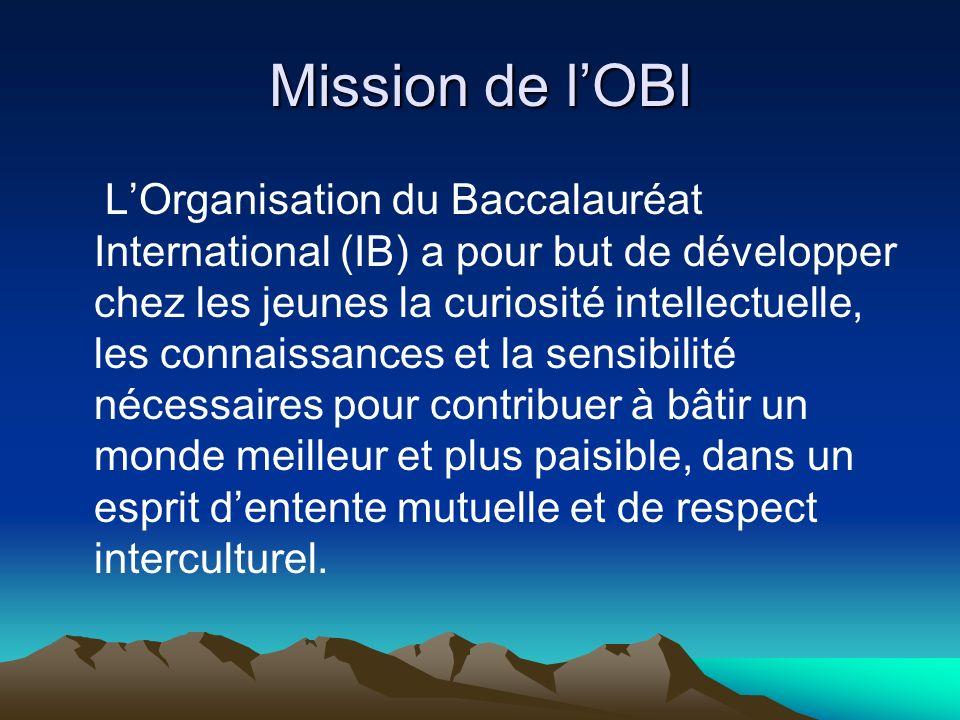 Mission de lOBI LOrganisation du Baccalauréat International (IB) a pour but de développer chez les jeunes la curiosité intellectuelle, les connaissanc