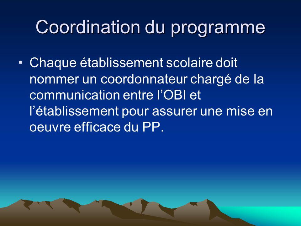 Coordination du programme Chaque établissement scolaire doit nommer un coordonnateur chargé de la communication entre lOBI et létablissement pour assu