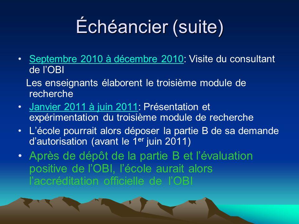 Échéancier (suite) Septembre 2010 à décembre 2010: Visite du consultant de lOBI Les enseignants élaborent le troisième module de recherche Janvier 201