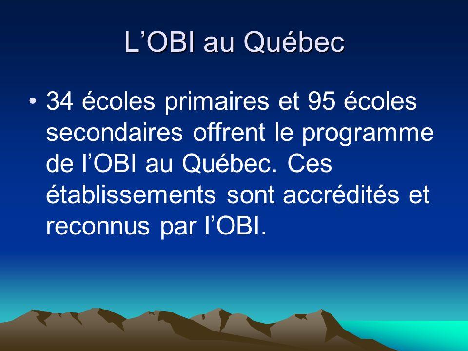 LOBI au Québec 34 écoles primaires et 95 écoles secondaires offrent le programme de lOBI au Québec. Ces établissements sont accrédités et reconnus par
