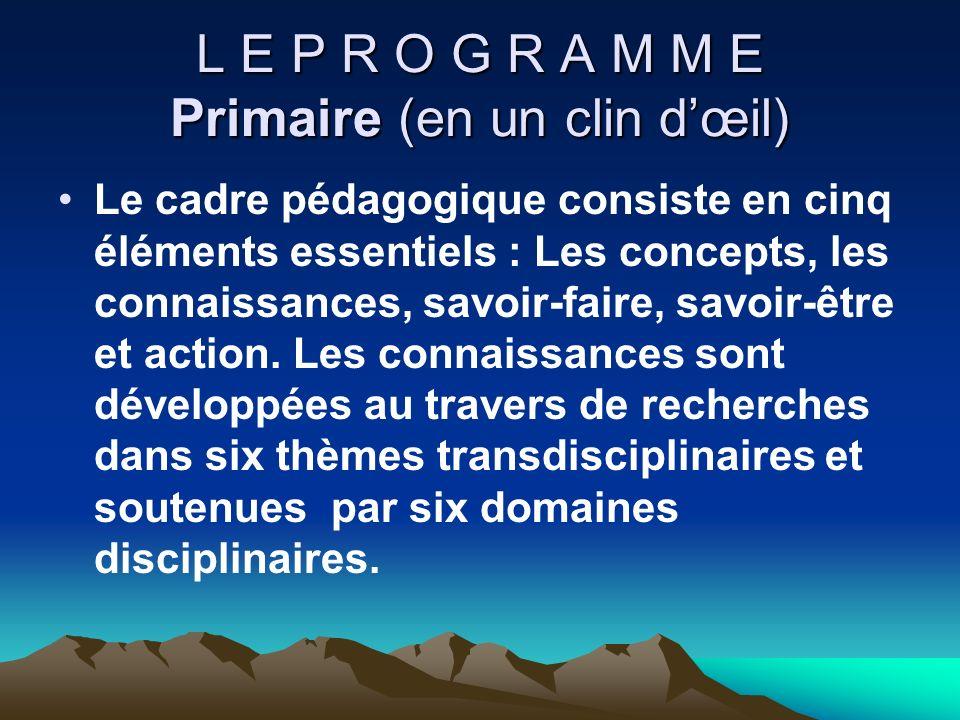 L E P R O G R A M M E Primaire (en un clin dœil) Le cadre pédagogique consiste en cinq éléments essentiels : Les concepts, les connaissances, savoir-f