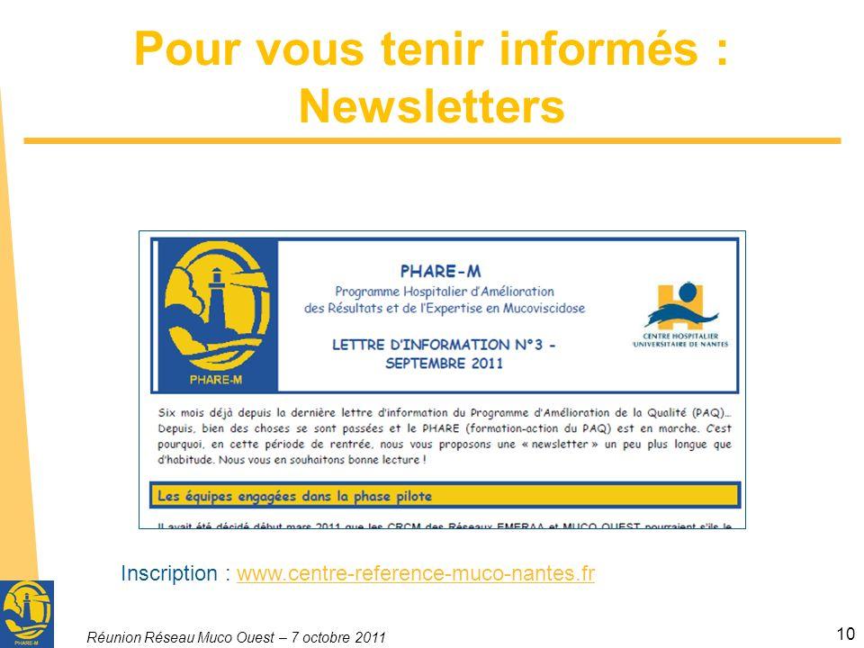 Réunion Réseau Muco Ouest – 7 octobre 2011 10 Pour vous tenir informés : Newsletters Inscription : www.centre-reference-muco-nantes.frwww.centre-refer