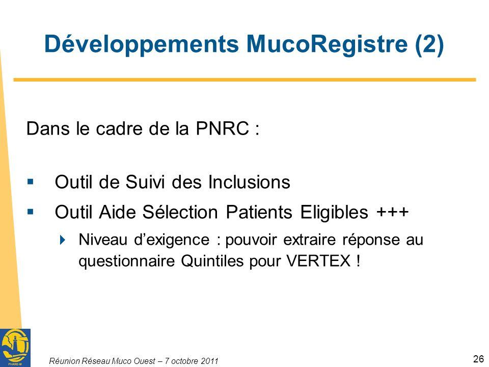 Réunion Réseau Muco Ouest – 7 octobre 2011 26 Développements MucoRegistre (2) Dans le cadre de la PNRC : Outil de Suivi des Inclusions Outil Aide Sélection Patients Eligibles +++ Niveau dexigence : pouvoir extraire réponse au questionnaire Quintiles pour VERTEX !