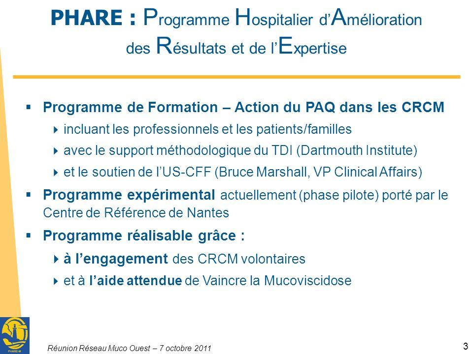 Réunion Réseau Muco Ouest – 7 octobre 2011 3 PHARE : P rogramme H ospitalier d A mélioration des R ésultats et de l E xpertise Programme de Formation