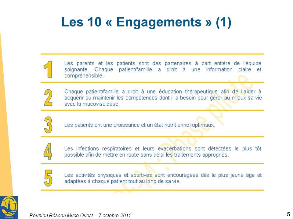 Réunion Réseau Muco Ouest – 7 octobre 2011 5 Les 10 « Engagements » (1)