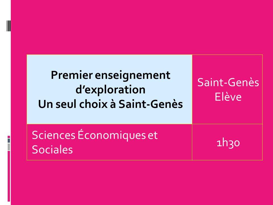 Premier enseignement dexploration Un seul choix à Saint-Genès Saint-Genès Elève Sciences Économiques et Sociales 1h30