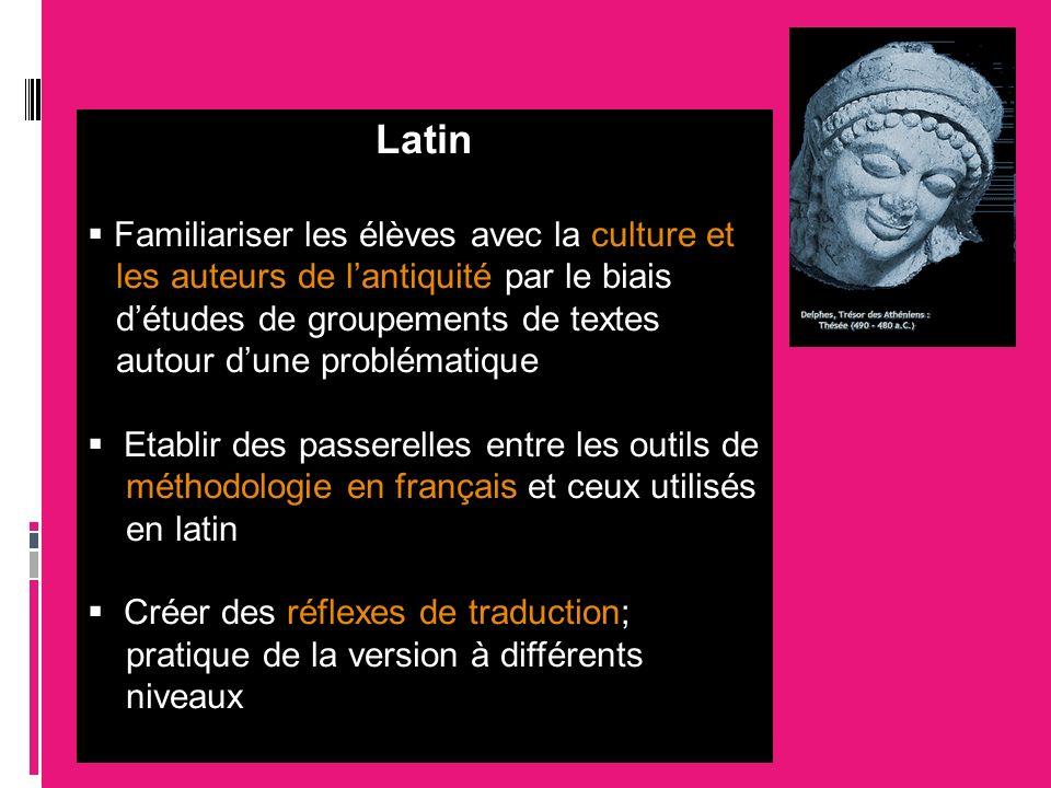 Latin Familiariser les élèves avec la culture et les auteurs de lantiquité par le biais détudes de groupements de textes autour dune problématique Eta