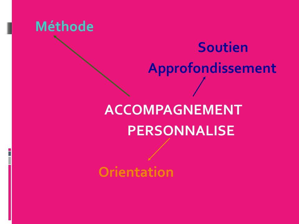 Méthode Soutien Approfondissement ACCOMPAGNEMENT PERSONNALISE Orientation