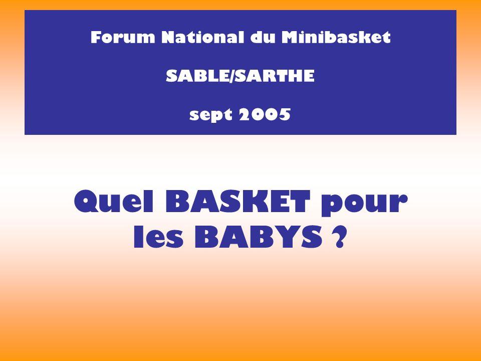Quel BASKET pour les BABYS Forum National du Minibasket SABLE/SARTHE sept 2005