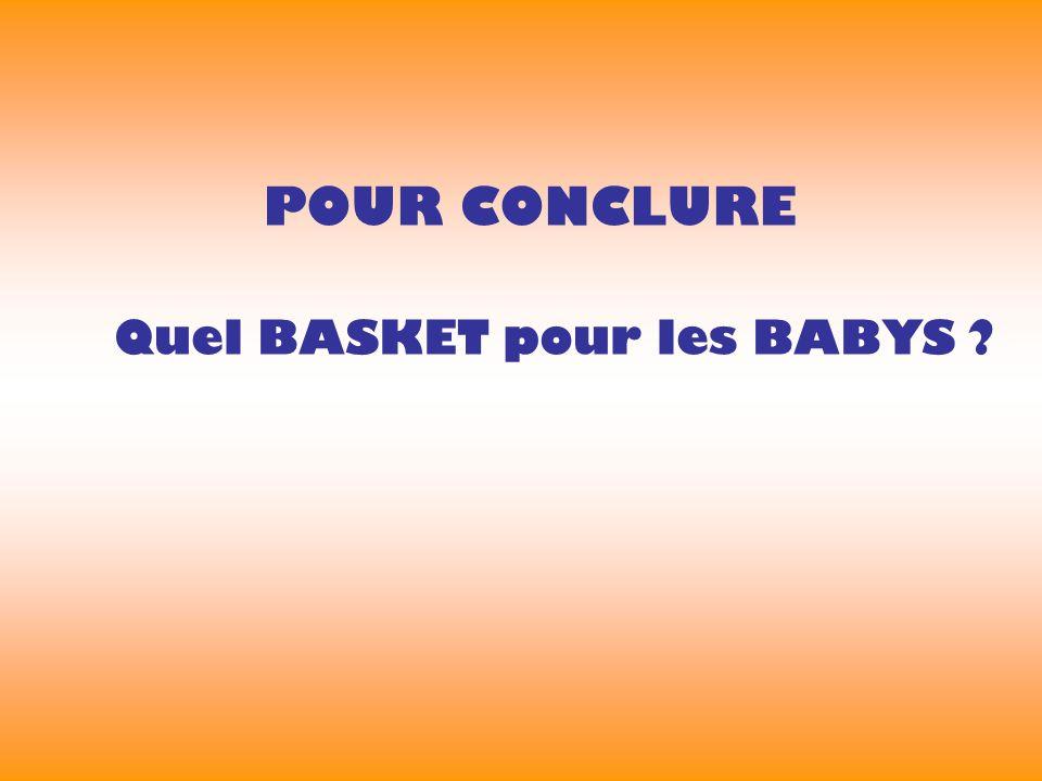 POUR CONCLURE Quel BASKET pour les BABYS