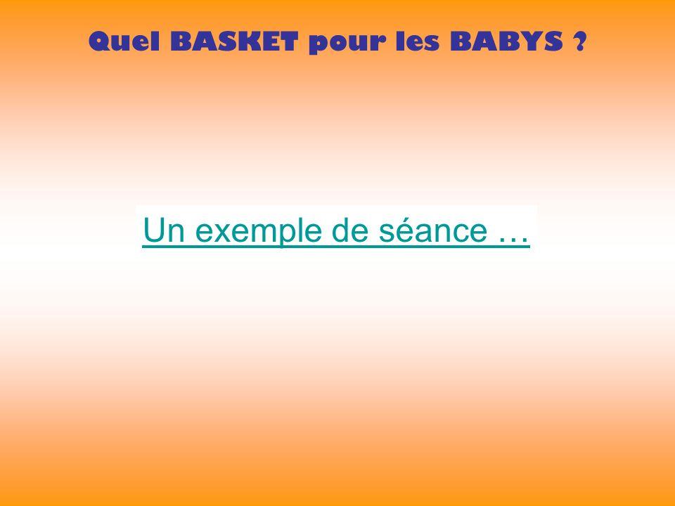 Quel BASKET pour les BABYS Un exemple de séance …